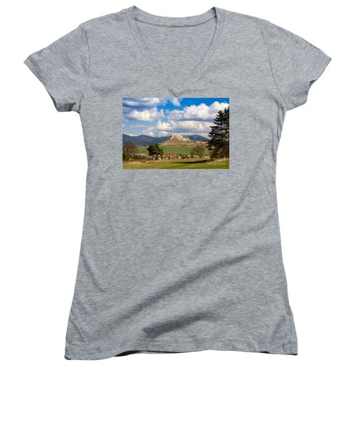 Women's V-Neck T-Shirt (Junior Cut) featuring the photograph Spissky Hrad - Castle by Les Palenik