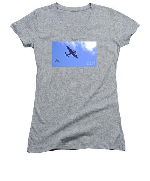 Women's V-Neck T-Shirt (Junior Cut) featuring the photograph Spitfire  Lancaster Bomber by John Williams