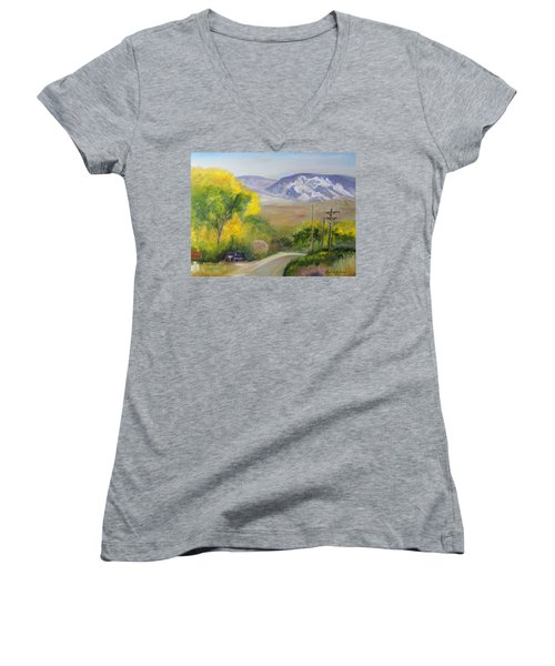Split Mountain On Golf Course Road Women's V-Neck T-Shirt (Junior Cut) by Sherril Porter