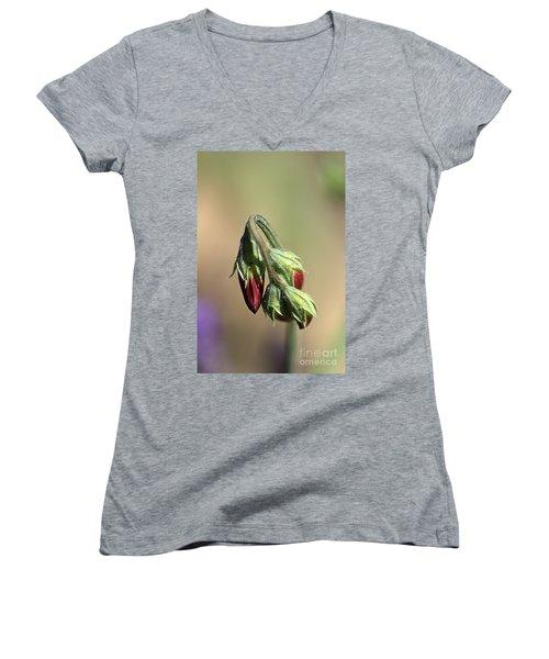 Women's V-Neck T-Shirt (Junior Cut) featuring the photograph Split Pea by Joy Watson