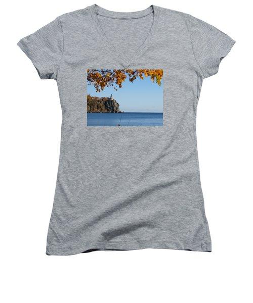 Split Rock Leaves Women's V-Neck T-Shirt