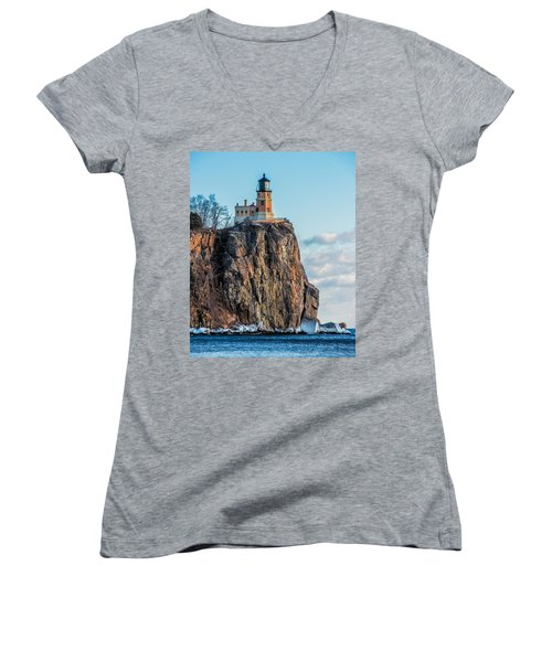 Split Rock Lighthouse In Winter Women's V-Neck T-Shirt (Junior Cut) by Paul Freidlund