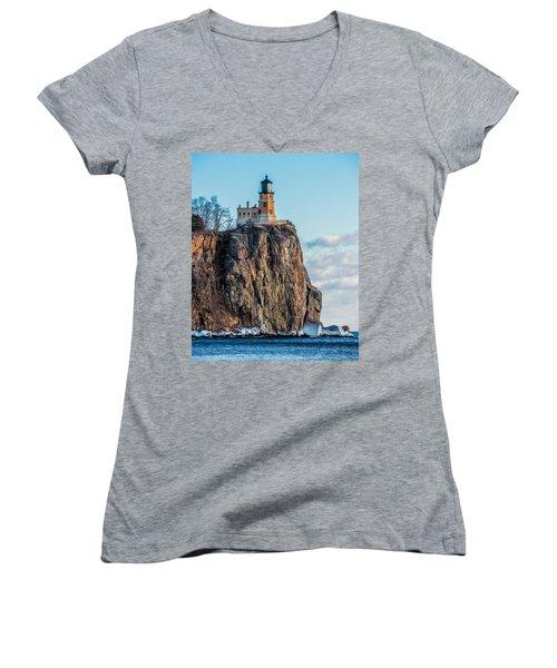 Split Rock Lighthouse In Winter Women's V-Neck (Athletic Fit)