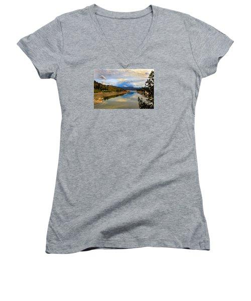 Spokane River Women's V-Neck T-Shirt (Junior Cut) by Robert Bales