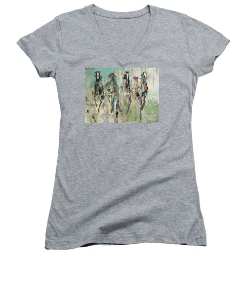 Spooked Women's V-Neck T-Shirt (Junior Cut) by Frances Marino