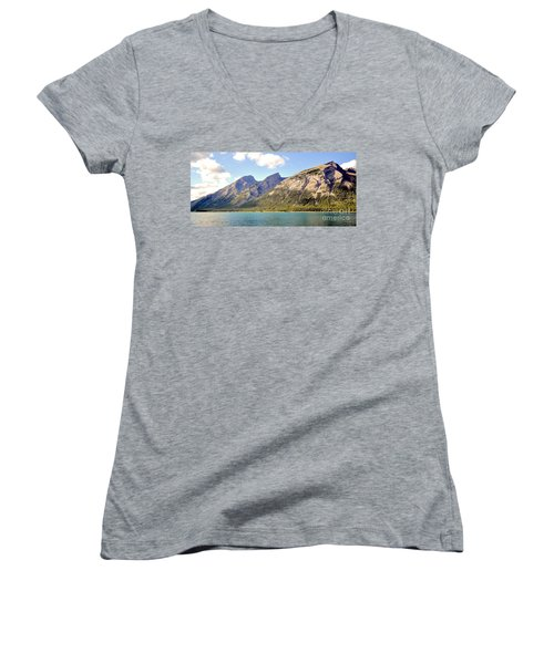 Spray Lake Mountains Women's V-Neck (Athletic Fit)