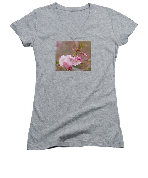 Spring Blossoms Women's V-Neck T-Shirt (Junior Cut) by Rudi Prott