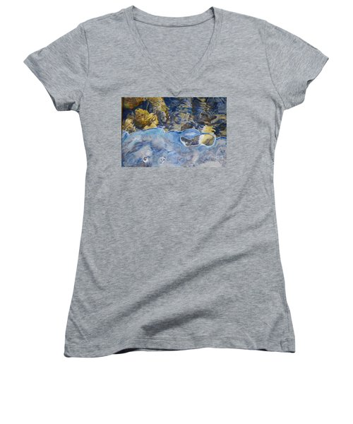 Women's V-Neck T-Shirt (Junior Cut) featuring the photograph Spring Drawing A Line In The Ice  by Brian Boyle