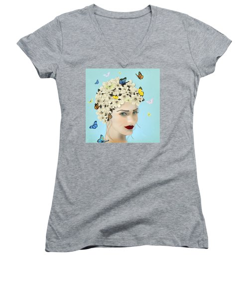 Spring Face - Limited Edition 2 Of 15 Women's V-Neck T-Shirt (Junior Cut) by Gabriela Delgado