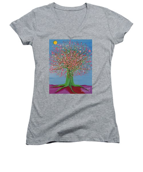 Spring Fantasy Tree By Jrr Women's V-Neck (Athletic Fit)