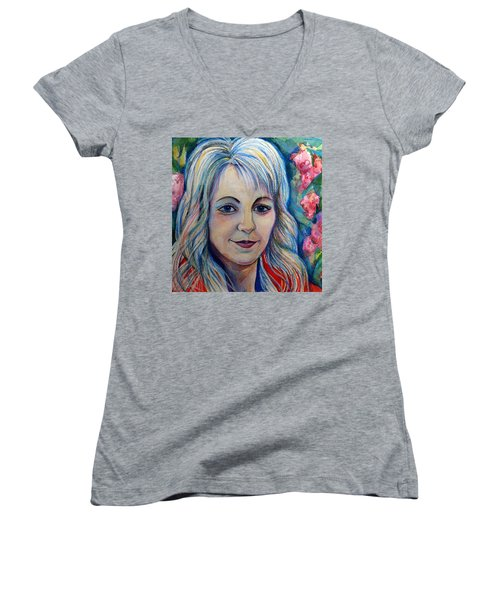 Women's V-Neck T-Shirt (Junior Cut) featuring the drawing Spring Girls. Part Two by Anna  Duyunova