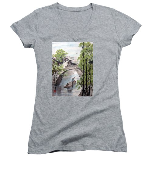 Women's V-Neck T-Shirt (Junior Cut) featuring the photograph Spring In Ancient Watertown by Yufeng Wang