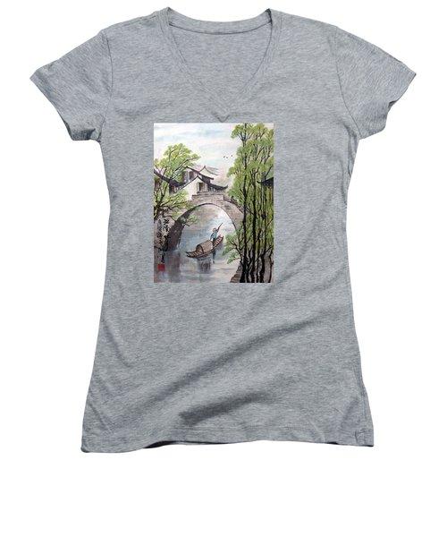 Spring In Ancient Watertown Women's V-Neck T-Shirt (Junior Cut) by Yufeng Wang