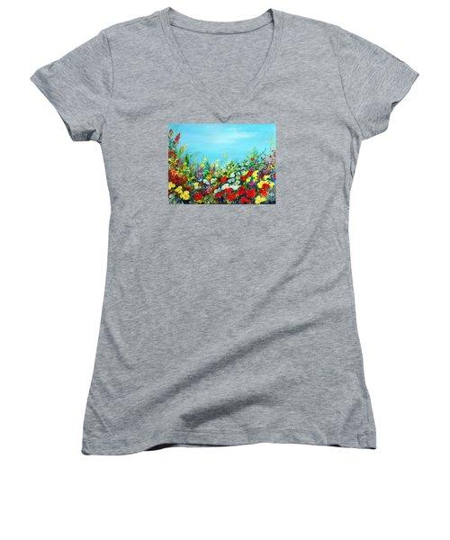 Spring In The Garden Women's V-Neck T-Shirt (Junior Cut) by Teresa Wegrzyn