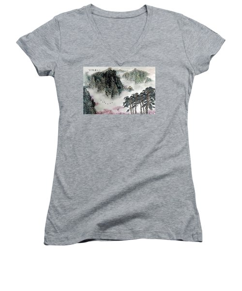 Women's V-Neck T-Shirt (Junior Cut) featuring the photograph Spring Mountains And The Great Wall by Yufeng Wang