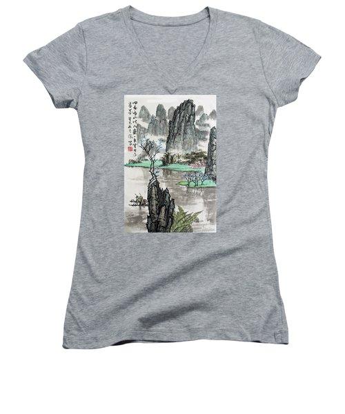 Spring River II Women's V-Neck T-Shirt (Junior Cut) by Yufeng Wang