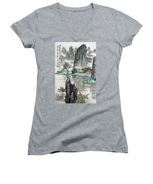 Spring River II Women's V-Neck T-Shirt