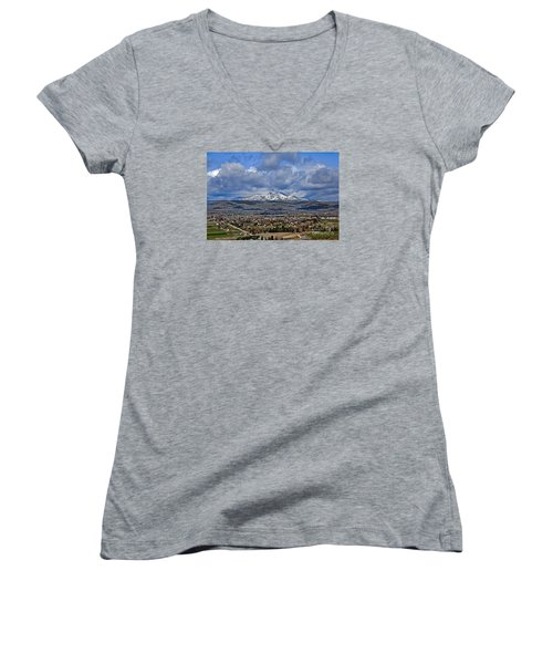 Spring Snow On Squaw Butte Women's V-Neck (Athletic Fit)