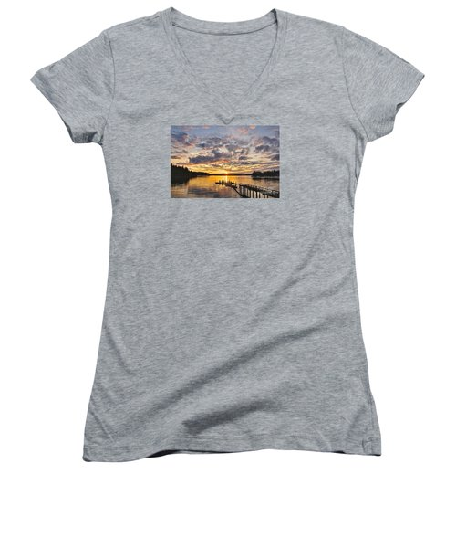 Spring Sunrise Women's V-Neck T-Shirt (Junior Cut) by Sean Griffin