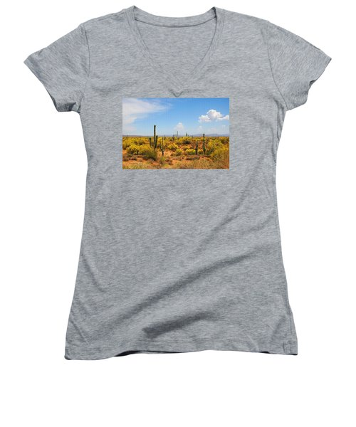 Women's V-Neck T-Shirt (Junior Cut) featuring the digital art Spring Time On The Rolls. by Tom Janca