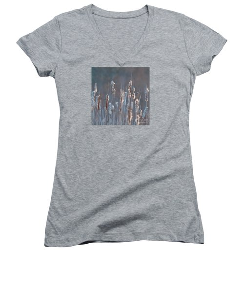 Spring Whisper... Women's V-Neck T-Shirt (Junior Cut) by Nina Stavlund