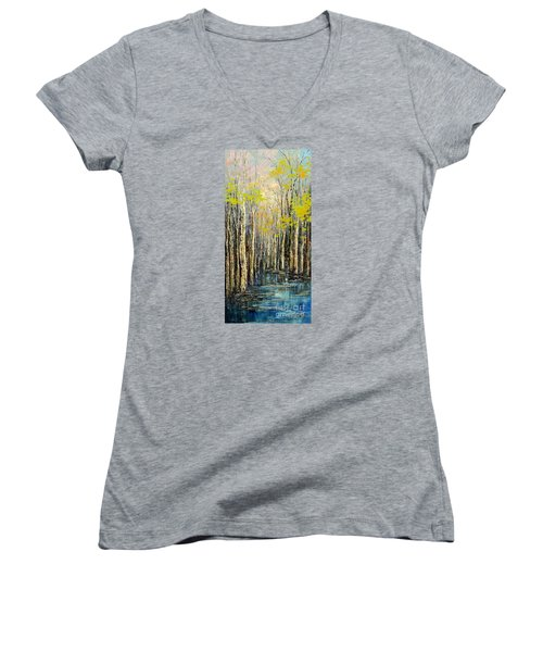 Spring Wind Women's V-Neck T-Shirt (Junior Cut) by Tatiana Iliina
