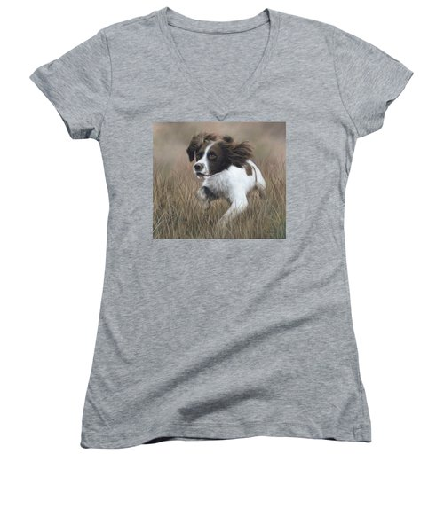 Springer Spaniel Painting Women's V-Neck T-Shirt (Junior Cut) by Rachel Stribbling