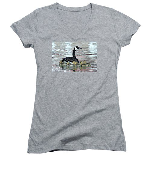 Spring's First Goslings Women's V-Neck T-Shirt (Junior Cut) by Elizabeth Winter