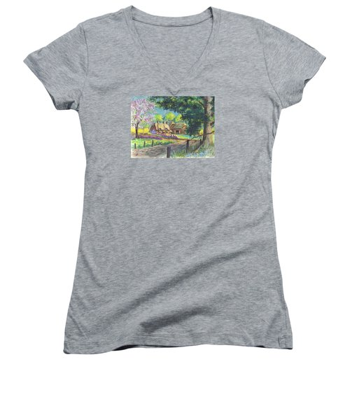 Springtime Cottage Women's V-Neck T-Shirt (Junior Cut) by Carol Wisniewski