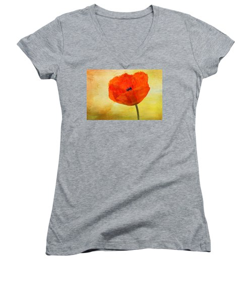 Springtime Poppy Beauty Women's V-Neck T-Shirt (Junior Cut) by Denyse Duhaime
