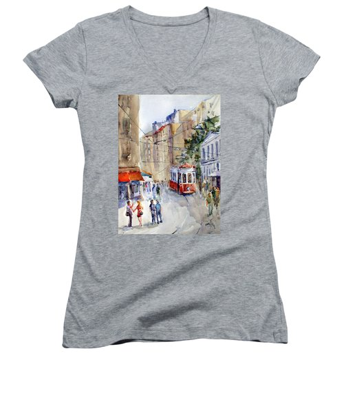 Square Tunel - Beyoglu Istanbul Women's V-Neck (Athletic Fit)