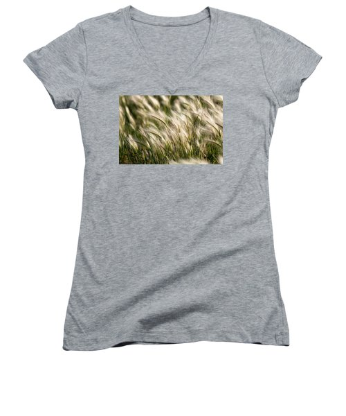 Women's V-Neck T-Shirt (Junior Cut) featuring the photograph Squirrel Grass by Fran Riley