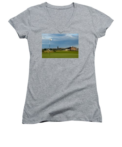 St Andrews Golf Women's V-Neck T-Shirt (Junior Cut) by Jeremy Voisey