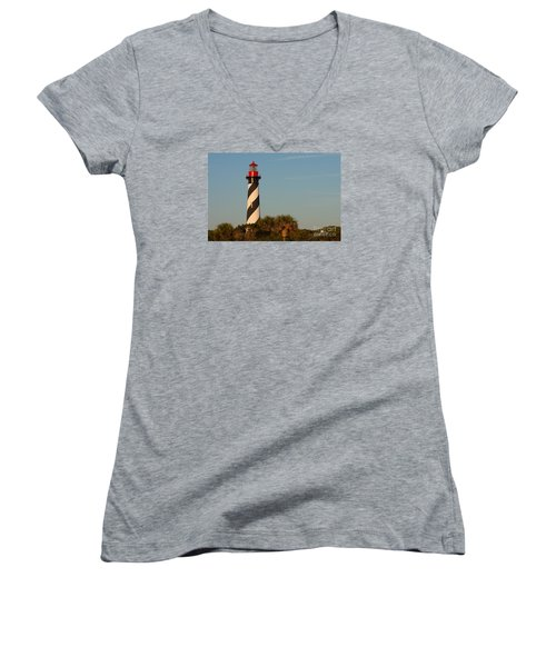 St. Augustine Lighthouse #3 Women's V-Neck T-Shirt (Junior Cut) by Paul Rebmann