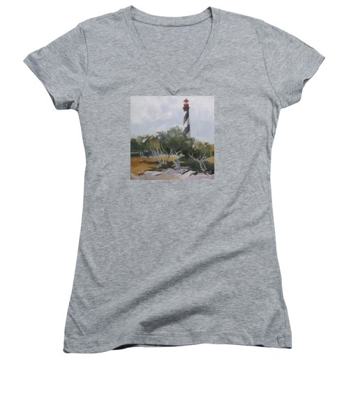 St Augustine Lighthouse First Light Women's V-Neck T-Shirt (Junior Cut) by Mary Hubley