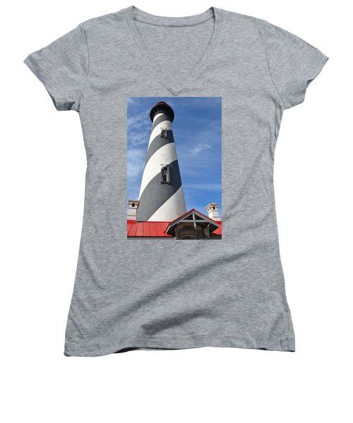 St. Augustine Lighthouse Women's V-Neck T-Shirt (Junior Cut) by Richard Bryce and Family