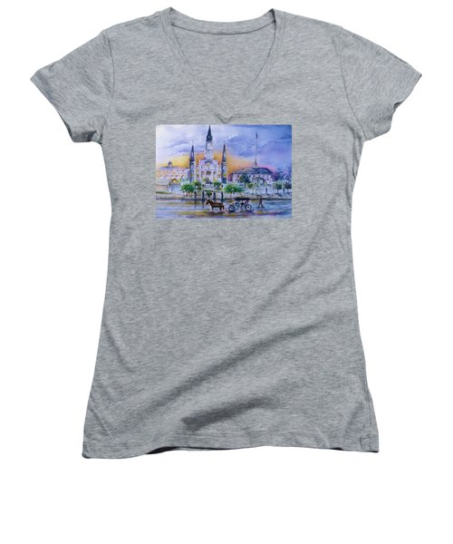 Women's V-Neck T-Shirt (Junior Cut) featuring the painting St. Charles New Orleans Sunset by Bernadette Krupa