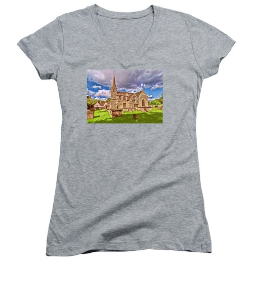 St Cyriac Church Lacock Women's V-Neck (Athletic Fit)