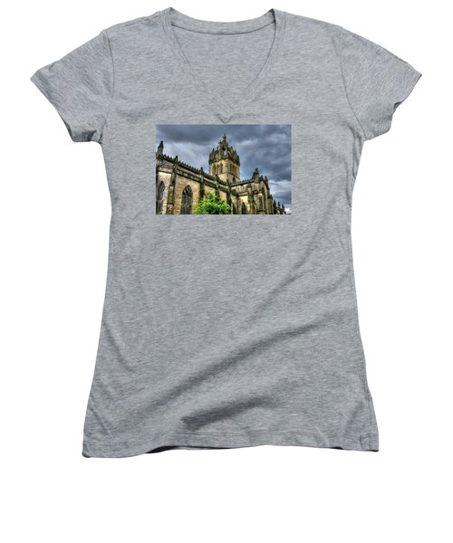 St Giles And Tree Women's V-Neck