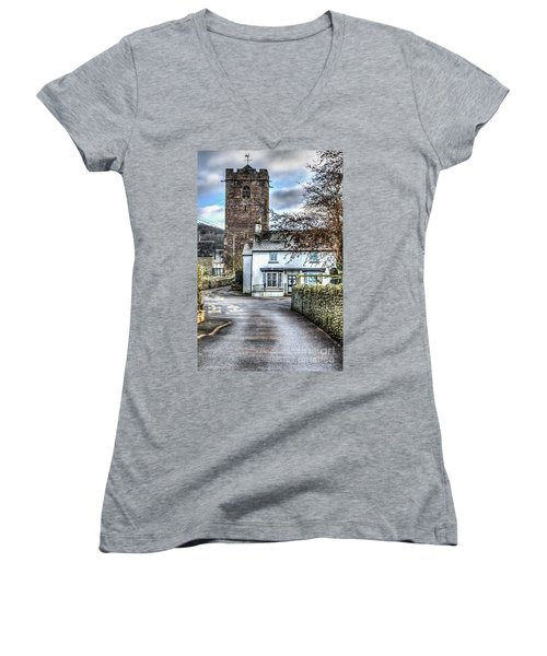 St Gwendolines Church Talgarth Women's V-Neck T-Shirt (Junior Cut) by Steve Purnell