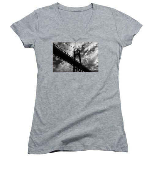 St Johns Bridge Women's V-Neck T-Shirt (Junior Cut) by Wes and Dotty Weber