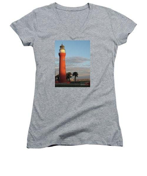 St. Johns River Lighthouse II Women's V-Neck T-Shirt (Junior Cut) by Christiane Schulze Art And Photography