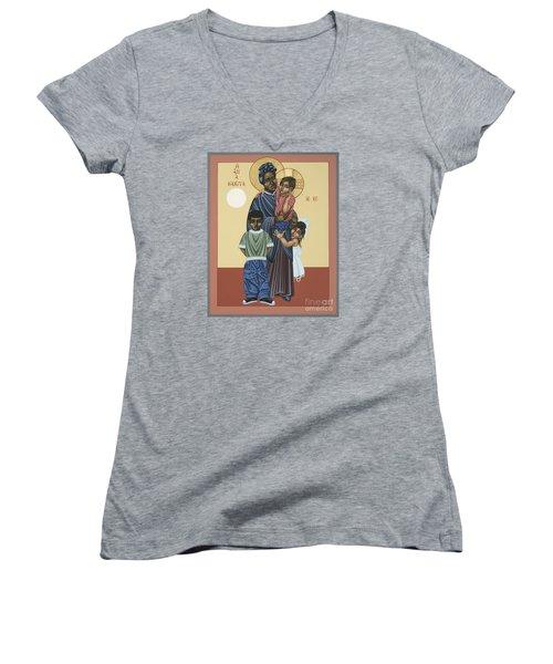 St. Josephine Bakhita Universal Sister 095 Women's V-Neck T-Shirt (Junior Cut) by William Hart McNichols