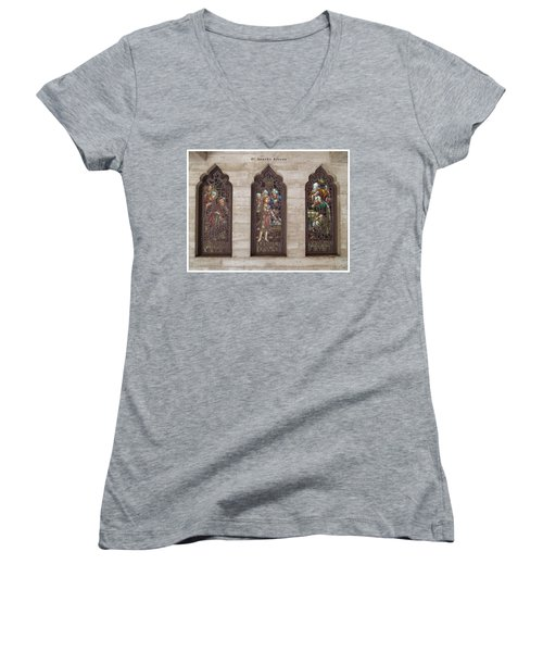 Women's V-Neck T-Shirt (Junior Cut) featuring the photograph St Josephs Arcade - The Mission Inn by Glenn McCarthy Art and Photography