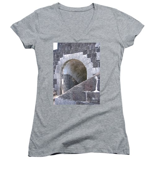 Women's V-Neck T-Shirt (Junior Cut) featuring the photograph St. Kitts  - Brimstone Hill Fortress by HEVi FineArt