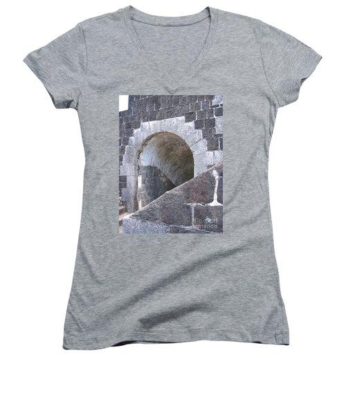 St. Kitts  - Brimstone Hill Fortress Women's V-Neck T-Shirt (Junior Cut) by HEVi FineArt
