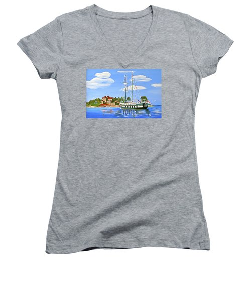 Women's V-Neck T-Shirt (Junior Cut) featuring the painting St Lawrence Waterway 1000 Islands by Phyllis Kaltenbach