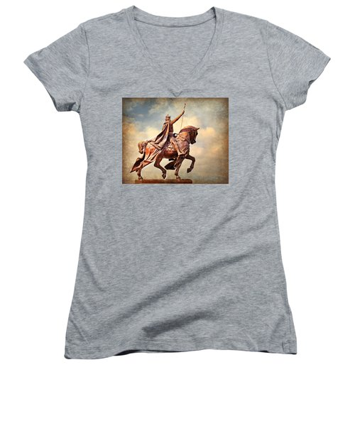 Women's V-Neck T-Shirt (Junior Cut) featuring the photograph St. Louis 4 by Marty Koch