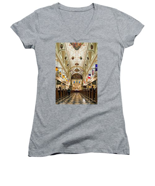 St. Louis Cathedral Women's V-Neck T-Shirt (Junior Cut) by Steve Harrington