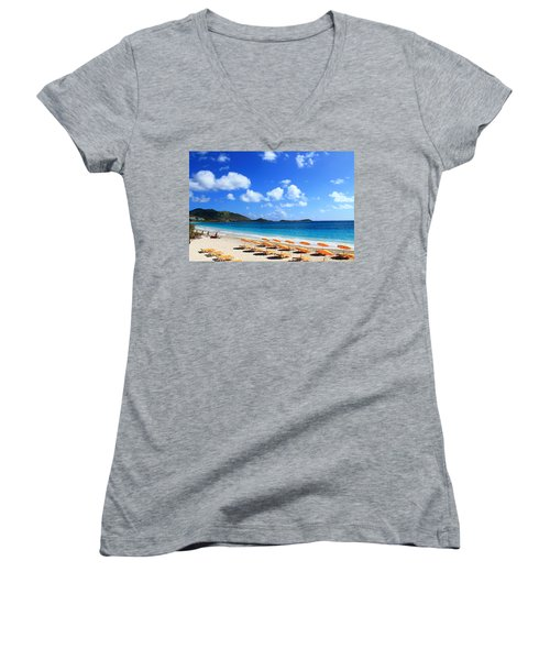 St. Maarten Calm Sea Women's V-Neck (Athletic Fit)